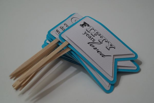 Atlantic Blue 50th Birthday Quotes Cupcake Toppers