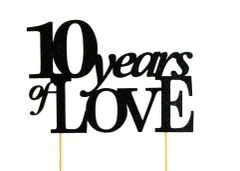 Black 10 Years of Love Cake Topper