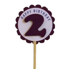 Shimmer Purple 2nd Birthday Cupcake Toppers