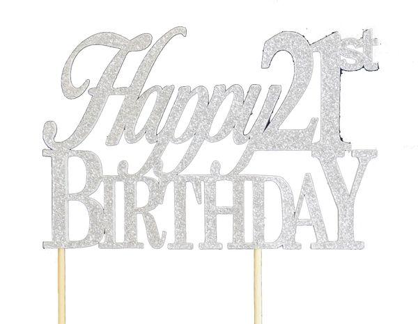 Silver Happy 21st Birthday Cake Topper