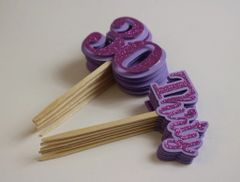 Purple Glitter Thirty Cupcake Toppers