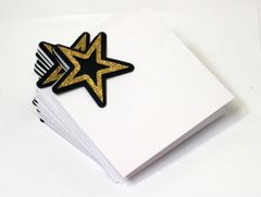 Black, Silver & Gold Star Place Cards / Food Escort Cards, Set of 12 pcs