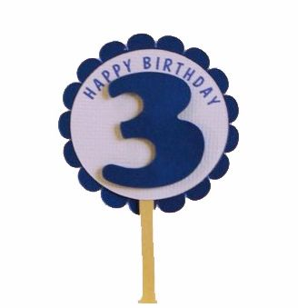 Shimmer Blue 3rd Birthday Cupcake Toppers