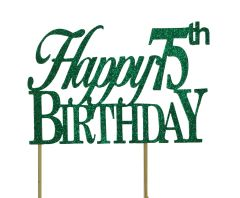 Green Happy 75th Birthday Cake Topper