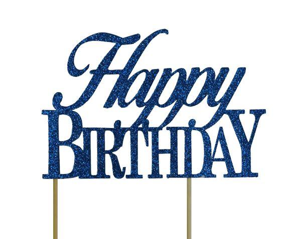 Blue Happy Birthday Cake Topper