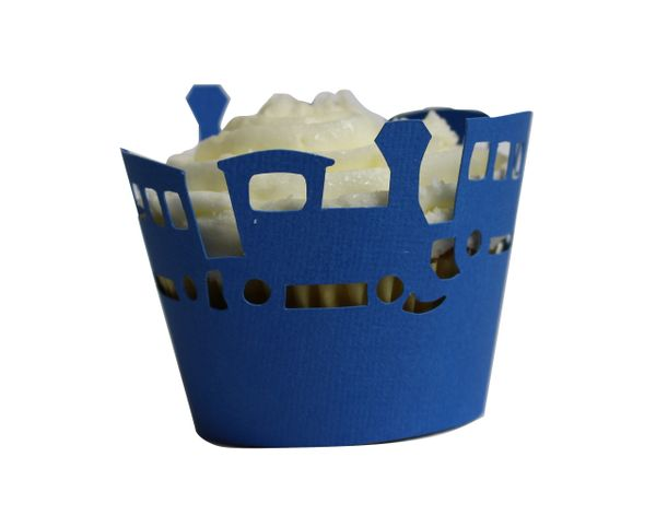 Blue Trains Cupcake Wrappers