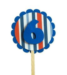Blue & Stripes 6 Cupcake Toppers