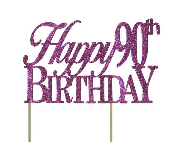Pink Happy 90th Birthday Cake Topper