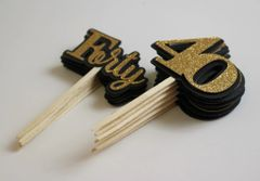 Black & Gold Forty Cupcake Toppers