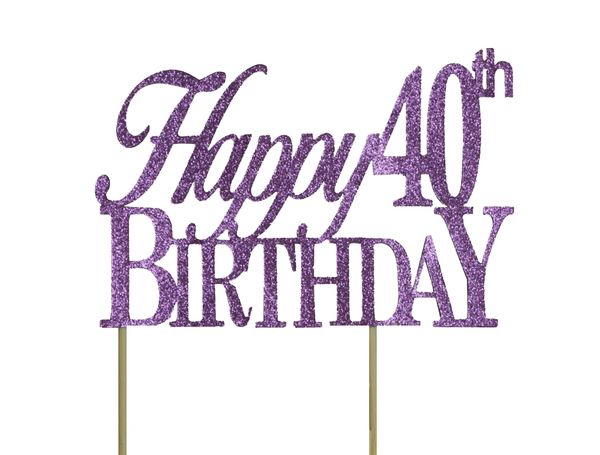 Purple Happy 40th Birthday Cake Topper