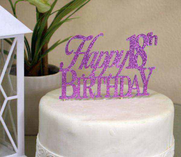 All About Details Purple Happy 18th Birthday Cake Topper