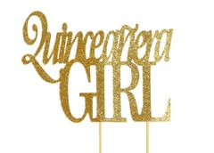 Gold Quinceanera Girl Cake Topper
