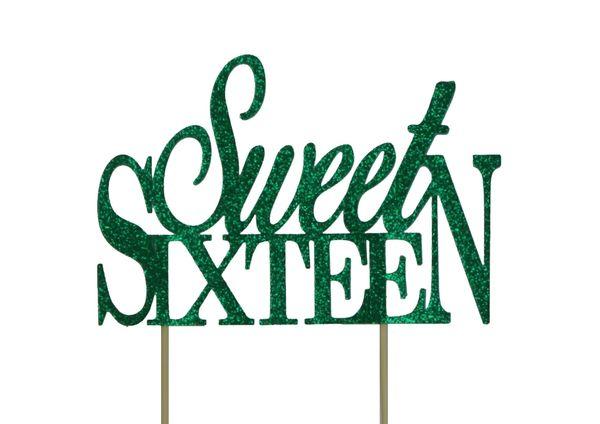 Green Sweet Sixteen Cake Topper