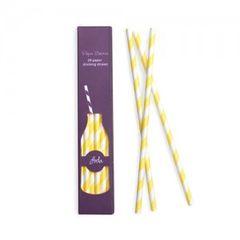 Stripes Paper Straws Limoncello Yellow 24pc
