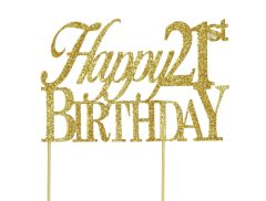 Gold Happy 21st Birthday Cake Topper