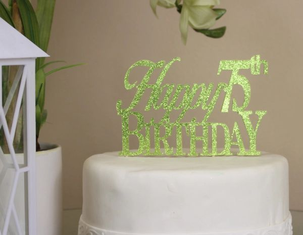 Happy 75th Birthday Cake Topper All About Details Green