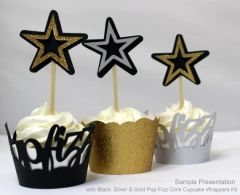 Black, Silver, & Gold Star Cupcake Toppers, 12 pcs