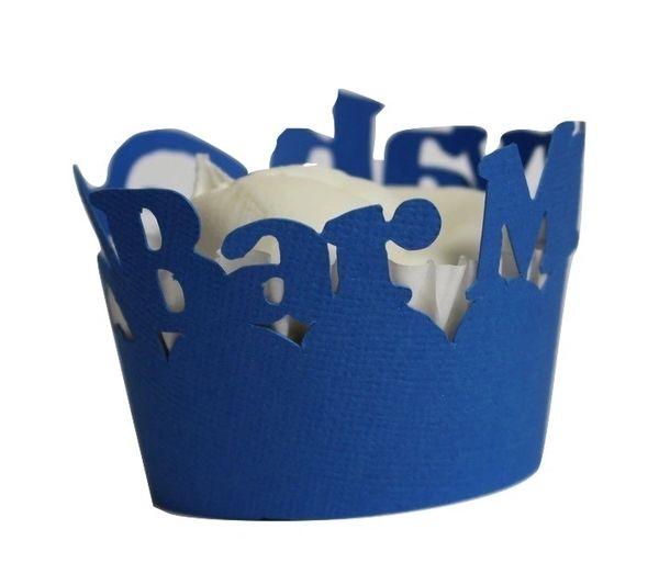Blue Marine Bar Mitzvah Cupcake Wrappers