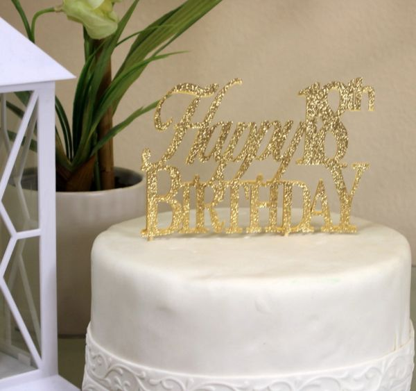 Gold Happy 18th Birthday Cake Topper