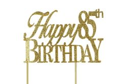Gold Happy 85th Birthday Cake Topper