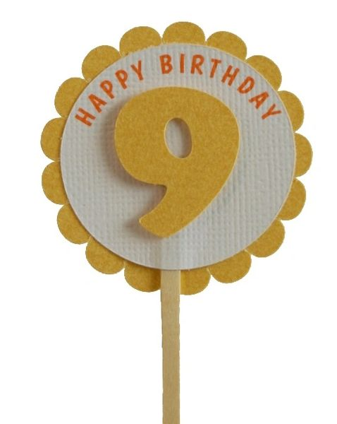 Shimmer Gold 9th Birthday Cupcake Toppers