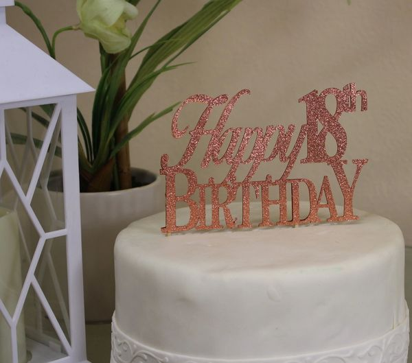 All About Details Copper Happy 18th Birthday Cake Topper
