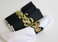 Black & Gold 80 Napkin Holders, 12pcs