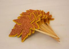 Copper Fall Leaf Cupcake Toppers, Set of 12