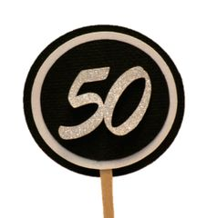 Black & White 50 Cupcake Toppers