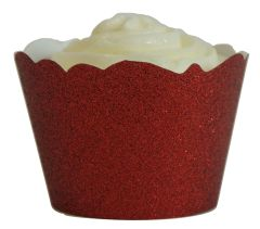Red Glitter Cupcake Wrappers