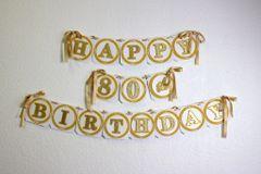 Gold Happy 80th Birthday Banner