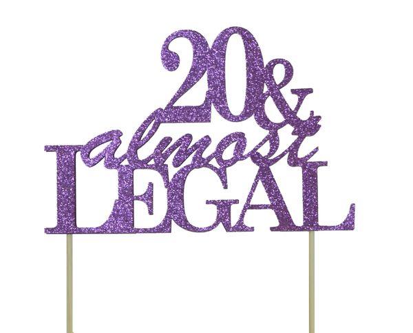 Purple 20 & Almost Legal Cake Topper