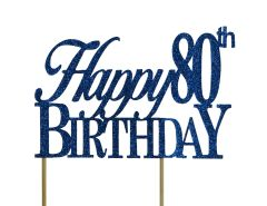 Blue Happy 80th Birthday Cake Topper