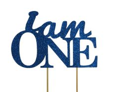 Blue I Am One Cake Topper