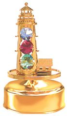 Gold Plated Light House Music Box w/Mixed Swarovski Element Crystal