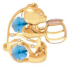 Gold Plated Bear w/ Honey Jar Sun Catcher (Magnet) w/Swarovski Element Crystal