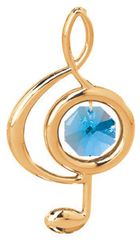 Gold Plated Treble Clef Sun Catcher (Magnet) w/Swarovski Element Crystal