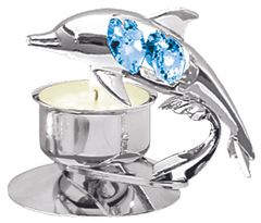 Chrome Plated Dolphin T-Lite Holder w/Blue Swarovski Element Crystal