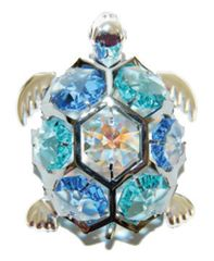 Chrome Plated Sea Turtle Free Standing w/Swarovski Element Crystal