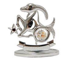 Chrome Plated Zodiac (Capricorn) on Stand with Swarovski Element Crystal