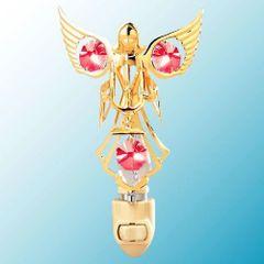 Gold Plated Angel w/ Candles Night Light w/Swarovski Element Crystal
