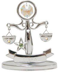 Chrome Plated Zodiac (Libra) on Stand with Swarovski Element Crystal