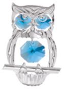 Chrome Plated Hooded Owl Ornament w/Blue Swarovski Element Crystal