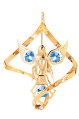 Gold Plated Angel w/Candle Spiral Ornament w/Blue Swarovski Element Crystal