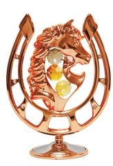 Rose Gold Plated Horseshoe w/ horse head w/Swarovski Element Crystal