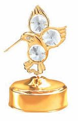 Gold Plated Fantail Hummingbird Music Box w/Clear Swarovski Element Crystal