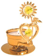 Gold Plated Heart with Sunflower T-Lite Holder w/Gold Swarovski Element Crystal