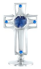 Chrome Plated Cross on Stand w/Swarovski Element Crystal