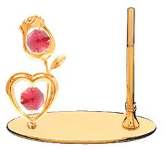 Gold Plated Rose with Heart Petite Pen Set w/Red Swarovski Element Crystal