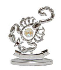 Chrome Plated Zodiac (Scorpio) on Stand with Swarovski Element Crystal